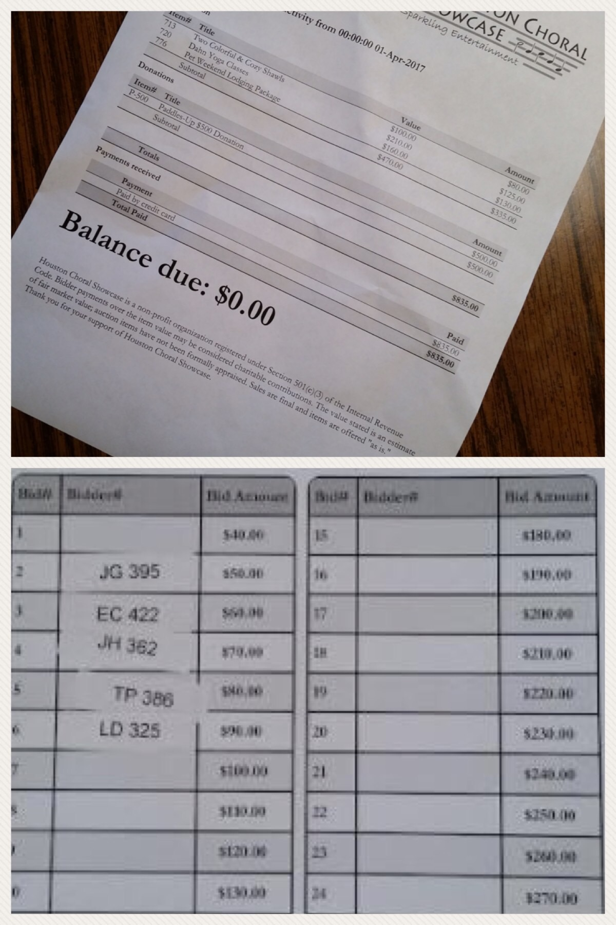 Houston Choral bid sheets and reciepts.JPG